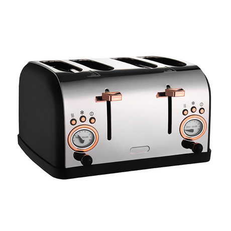 4-Slice Toaster Retro Style Stainless Steel Toaster with 6 Bread Shade Setting Wide Slot